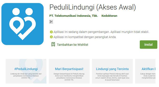 Aplikasi PeduliLindungi Tersedia di Play Store