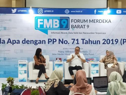 Diskusi yang terjadi di acara FMB 9 dengan tema Ada Apa dengan PP 71 Tahun 2019 (PP PSTE)