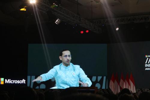 Mendikbu, Nadiem Makarim saat memberikan penjelasan mengenai merdeka sekolah