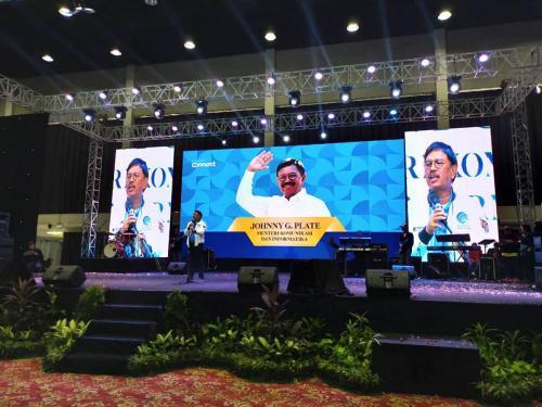 Menteri Kominfo Johnny G Plate saat memberikan Keynote Speech dalam acara Kominfo Connect