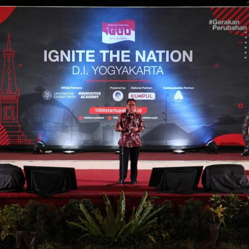 Rektor UGM Panut Mulyono saat memberi sambutan di Ignite The Nation Yogyakarta