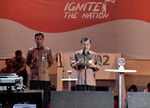 Wakil Presiden Jusuf Kalla saat memberikan inspirasi pada peserta Ignite The Nations 1000 Startup Digital 2019
