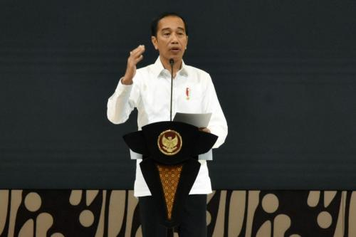 Presiden RI, Joko Widodo saat memberikan keynote speech pada acara Digital Economy Summit 2020 (27/02)